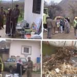 """إخلاء عائلة مكونة من 8 أفراد بـ """"آل دغمان"""" بمحافظة القرى سقطت الصخور على منزلهم"""