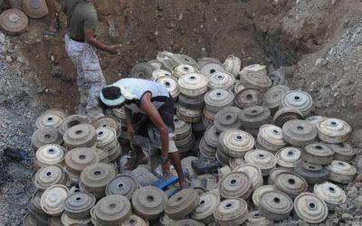 """إتلاف """"500"""" لغم زرعتها مليشيا الحوثي شرق مديرية حرض في اليمن"""