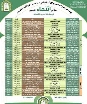 """مركز الدعوة والإرشاد في مدينة عرعر ينظم برنامج """" انتماء """" الدعوي في منطقة الحدود الشمالية"""