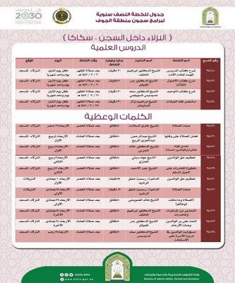 الشؤون الإسلامية تنظم سلسلة دروس علمية لنزلاء السجون بمنطقة الجوف