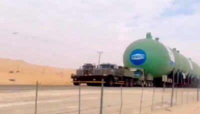 صنع في السعودية .. نقل أكبر خزان غاز مسال في العالم من الدمام إلى الرياض