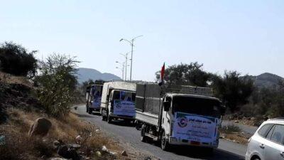 تسيير قافلة غذائية دعماً للمرابطين في جبهات القتال محور الضالع جنوب اليمن