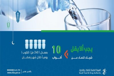 الغذاء والدواء : اشربوا 10 أكواب من الماء يوميًا خلال رمضان