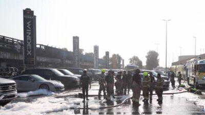 دبي.. حريق يمتد لـ8 معارض سيارات ويسبب أضراراً بـ55 مركبة