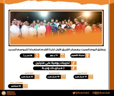 انطلاق معسكر فريق نادي عرعر لكرة القدم استعداداً للموسم الجديد