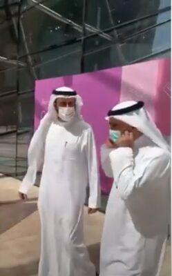 """وزير الصحة الجديد """" فهد الجلاجل"""" ينزع الكمامة ويشكر """"توفيق الربيعة"""""""